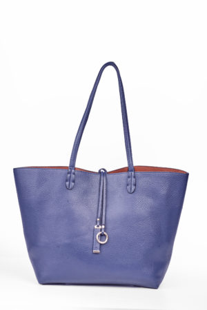 REVERSIBLE SHOPPER BAG -NAVY & CAMEL