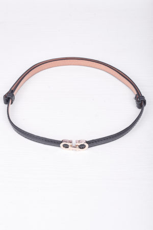 DD GOLD DETAIL ADJUSTABLE SLIM BELT - BLACK