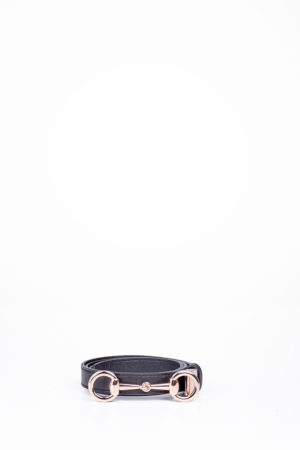 SNAFFLE HEAD SLIM BELT - BLACK
