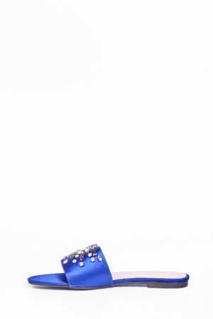 SATIN EMBELLISHED FLAT SLIPPERS - COBALT