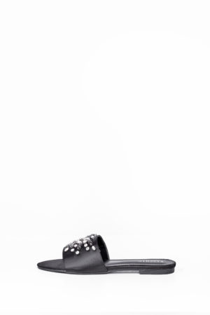 SATIN EMBELLISHED FLAT SLIPPERS - BLACK