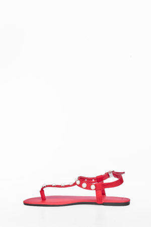 PEARL STUDDED THONG FLAT SANDAL - RED