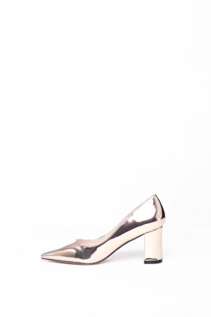 WAGCHIC MIDI BLOCK HEEL COURT SHOE - ROSE GOLD