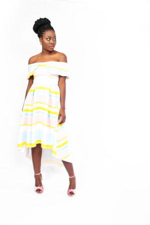 PINK AND YELLOW STRIPED THIN STRAP DRESS