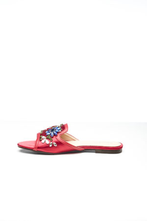 WAGCHIC EMBELLISHED BOYFRIEND SLIPPERS - RED