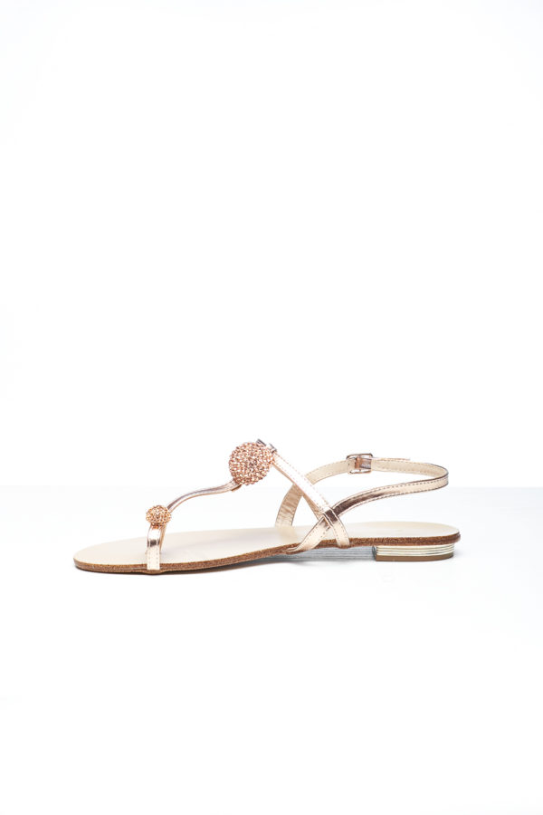 acbe46faa OPEN TOE EMBELLISHED FLAT SANDAL - ROSE GOLD