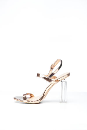MULTI STRAP CLEAR HEEL - ROSE GOLD