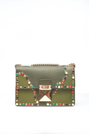 KHAKI CHAIN BAG WITH MULTICOLORED STUDS
