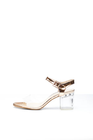 MIDI BLOCK CLEAR HEEL - ROSE GOLD