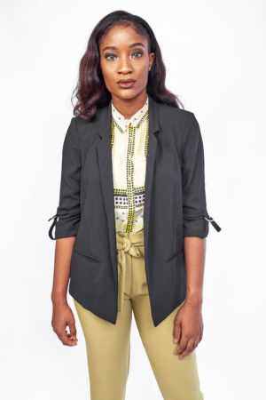 BLAZER WITH GOLD SLEEVE BUCKLE - BLACK