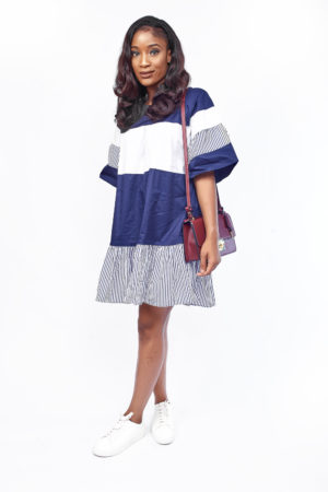 NAVY AND WHITE STRIPE LAYERED TRUMPET SLEEVE TUNIC
