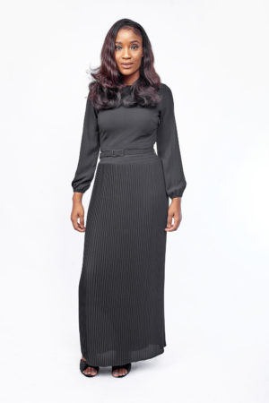 PLEATED LONGSLEEVE MAXI - BLACK