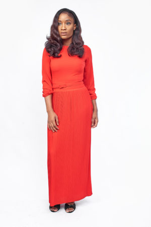 PLEATED LONGSLEEVE MAXI - RED