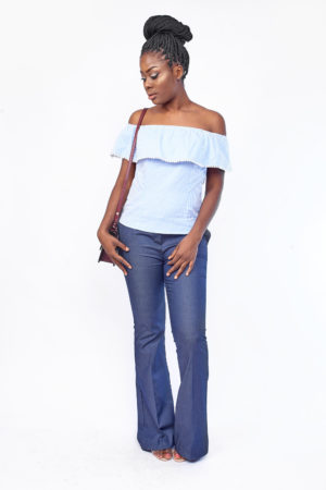 KOTON BLUE STRIPE FRILL BARDOT TOP