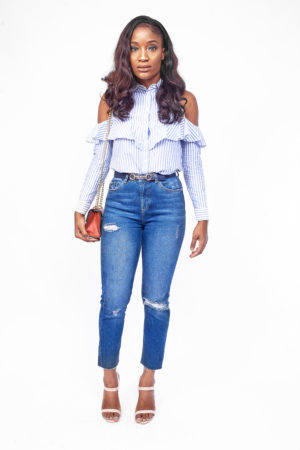 BLUE & WHITE COLD SHOULDER SHIRT
