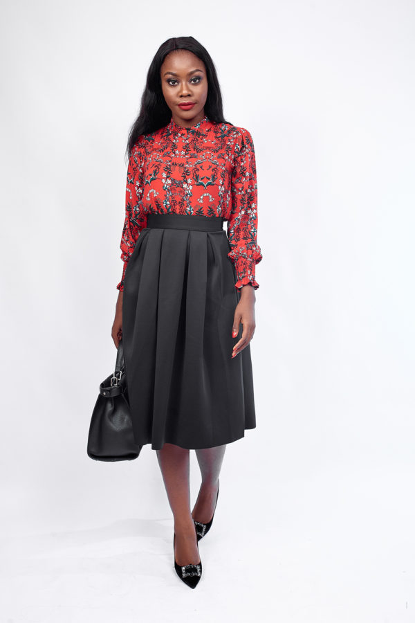 KOTON RED FLORAL HIGH NECK BLOUSE