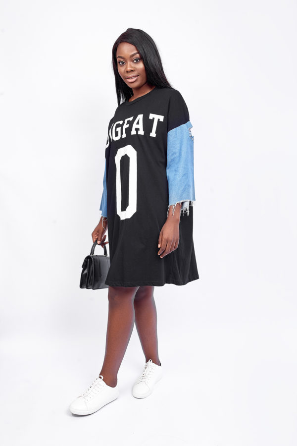 BIG FAT DENIM T SHIRT TUNIC - BLACK