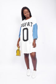 BIG FAT DENIM T SHIRT TUNIC - WHITE