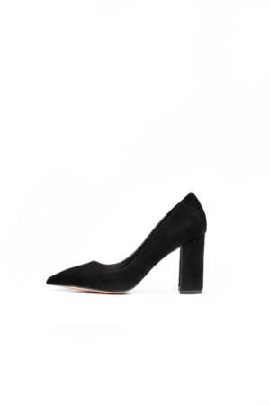 HIGH BLACK SUEDE BLOCK COURT SHOE