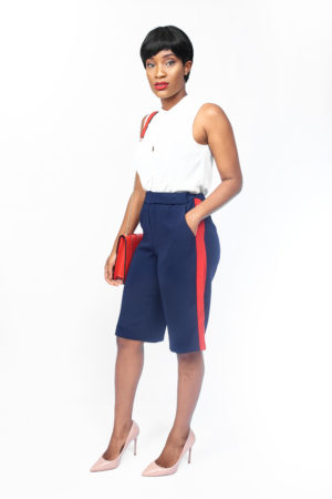 NAVY RED STRIPE SHORTS