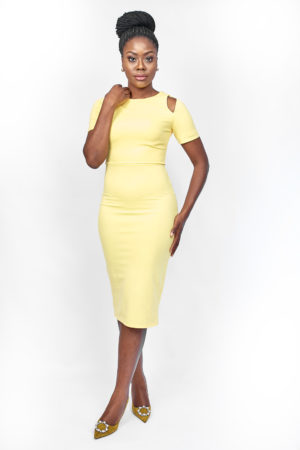 YELLOW COLD SHOULDER BODYCON MIDI DRESS
