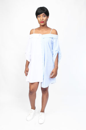 BLUE & WHITE ASYMMETRIC COLD SHOULDER TUNIC
