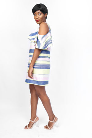 BLUE STRIPE CUT OUT FRILL TUNIC