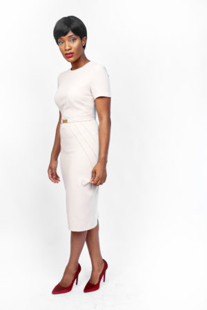 PANEL PENCIL DRESS WITH GOLD DETAIL - STONE