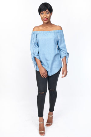 KOTON JEANS LIGHT WASH BARDOT TOP