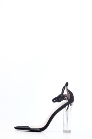 WRAP AROUND CLEAR BLOCK HEEL SANDAL - BLACK