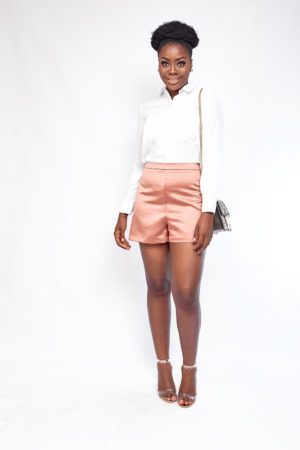 SATIN HIGH WAIST SHORTS - BLUSH