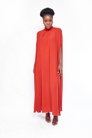 HIGH NECK OVERSIZED MAXI DRESS - RUST