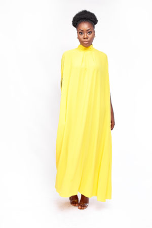 HIGH NECK OVERSIZED MAXI DRESS - YELLOW