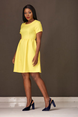 (3 for 12K) YELLOW ROUNDNECK SKATER DRESS