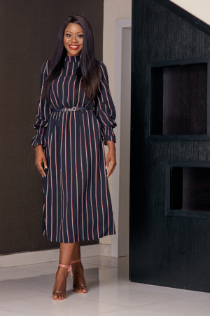 NAVY & WHITE STRIPE HIGH NECK MIDI DRESS