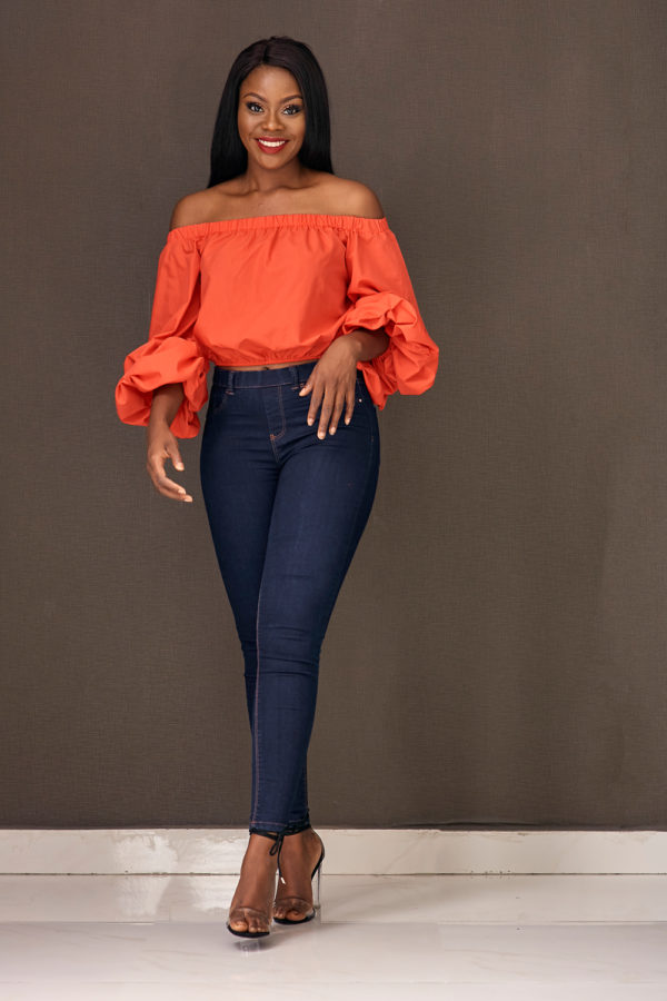 (3 for 12K) RED BARDOT BUBBLE SLEEVE CROP TOP