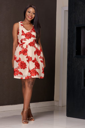 FLORAL TISSUE SKATER DRESS - CREAM AND RED