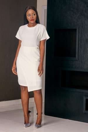 ASOS WHITE WRAP DRESS WITH DRING