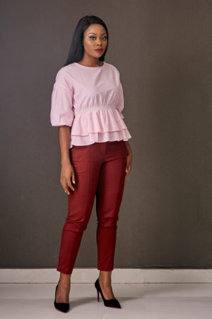 KOTON COTTON PINK STRIPE BUBBLE PEPLUM TOP