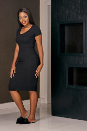 RIB BONE MIDI BODYCON DRESS - BLACK