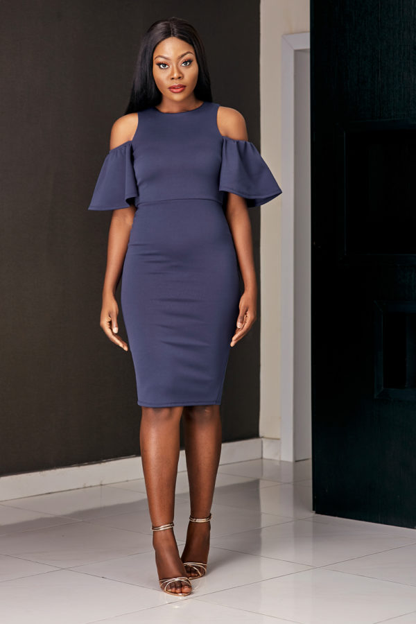 SCUBA COLD SHOULDER DRESS - NAVY