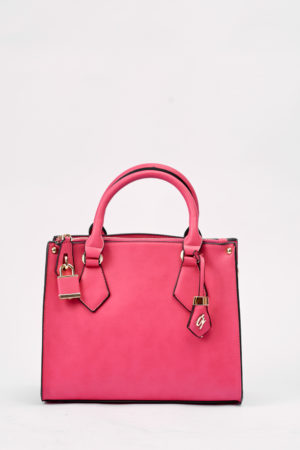 GALIAN PINK PADLOCK DETAIL ZIPPER BAG