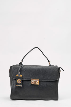 GALIAN GRAB HANDLE PUSH BUTTON BAG - BLACK