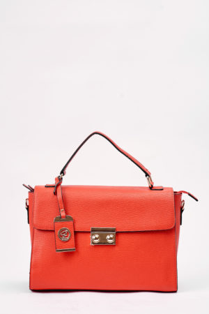GALIAN GRAB HANDLE PUSH BUTTON BAG - RED