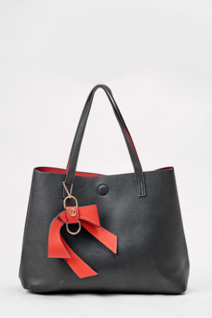 GALIAN BLACK AND RED REVERSIBLE BAG WITH BOW DETAIL