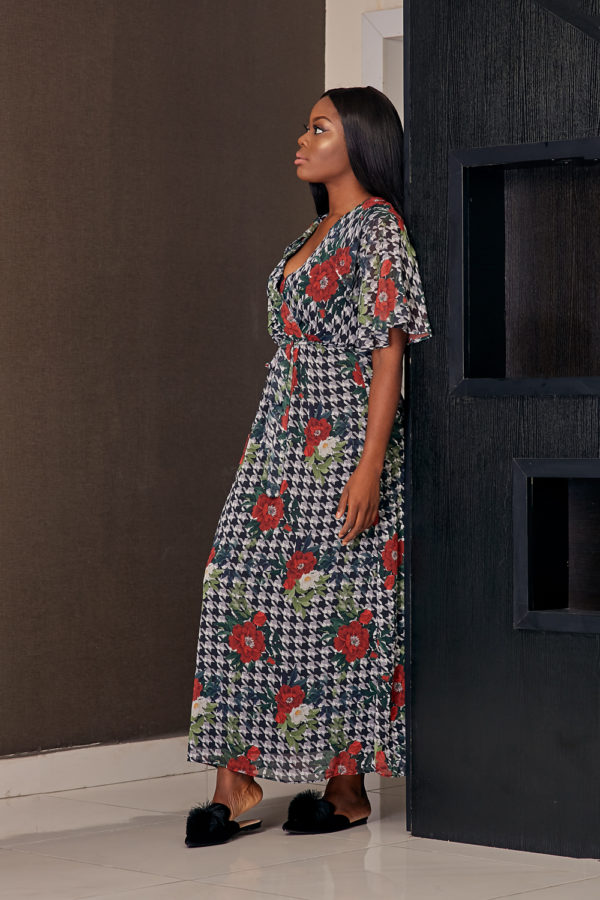 KOTON RED FLORAL HOUNDSTOOTH FRILL SLEEVE MAXI DRESS