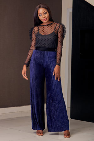 KOTON NAVY VELVET PLEATED PALAZZOS