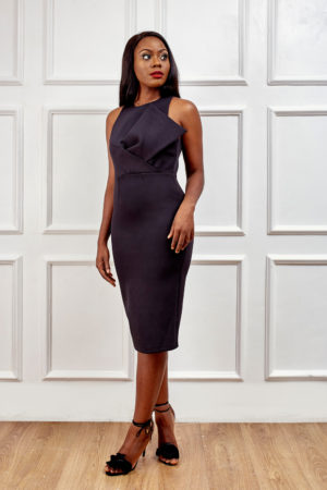 (3 FOR 20K) BLACK DRESS WITH FRONT BOW DETAIL