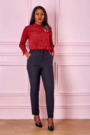 KOTON RED HOUNDSTOOTH APPLIQUE SHIRT