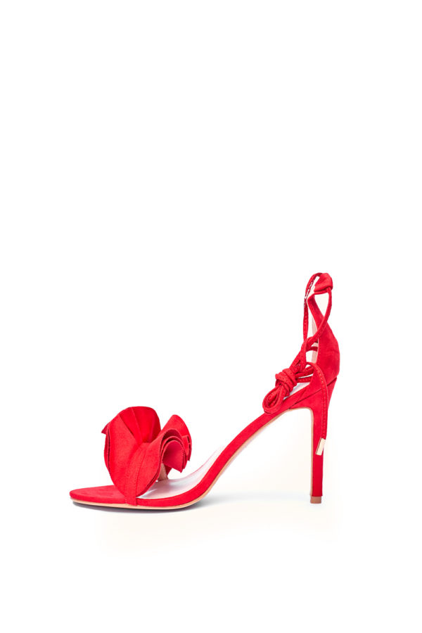 WAGCHIC RUFFLE STRAPPY SANDALS - RED